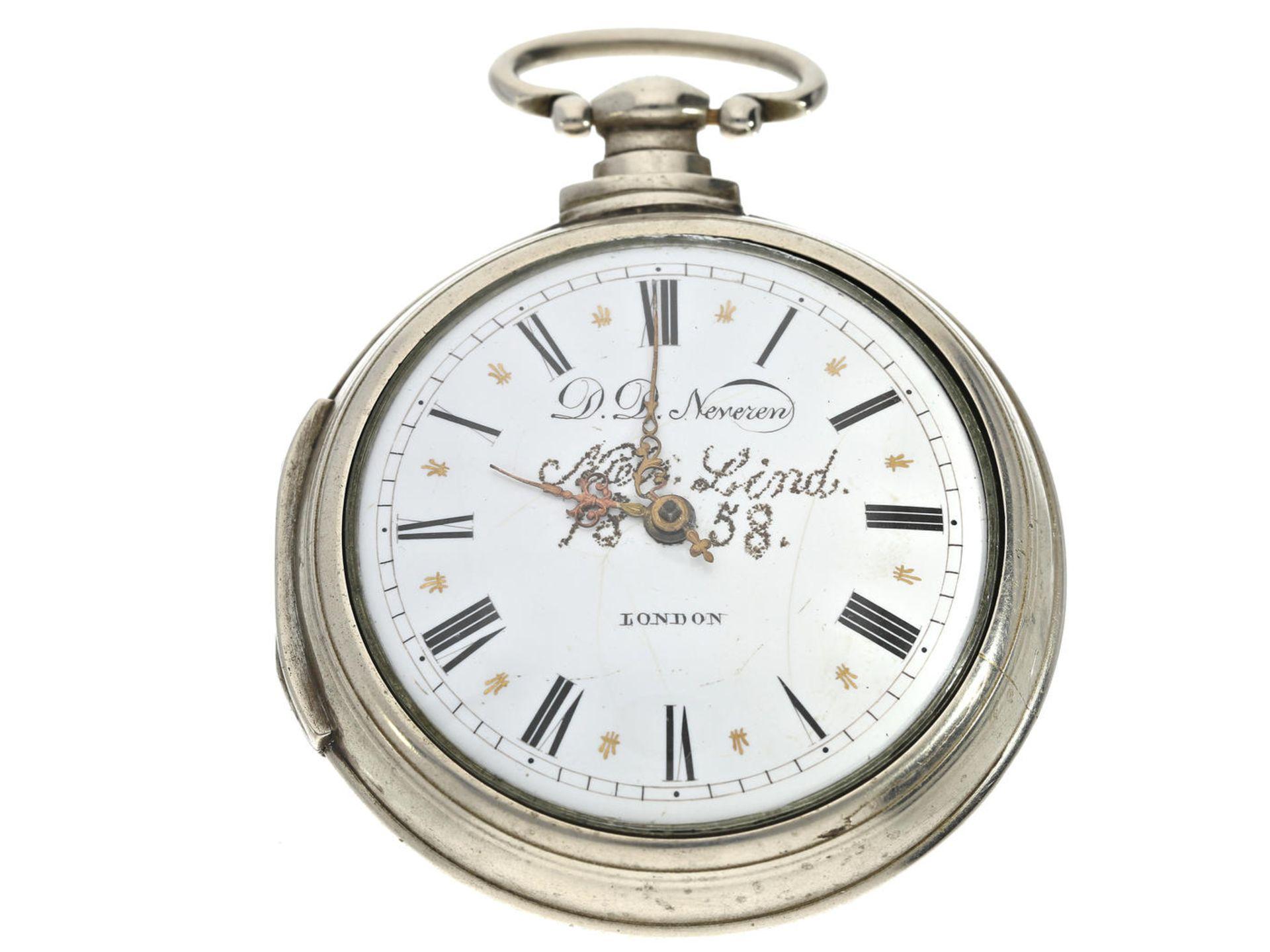 Los 6055 - Taschenuhr: außergewöhnlich große englische Doppelgehäuse-Spindeluhr, signiert D.D. Neveren