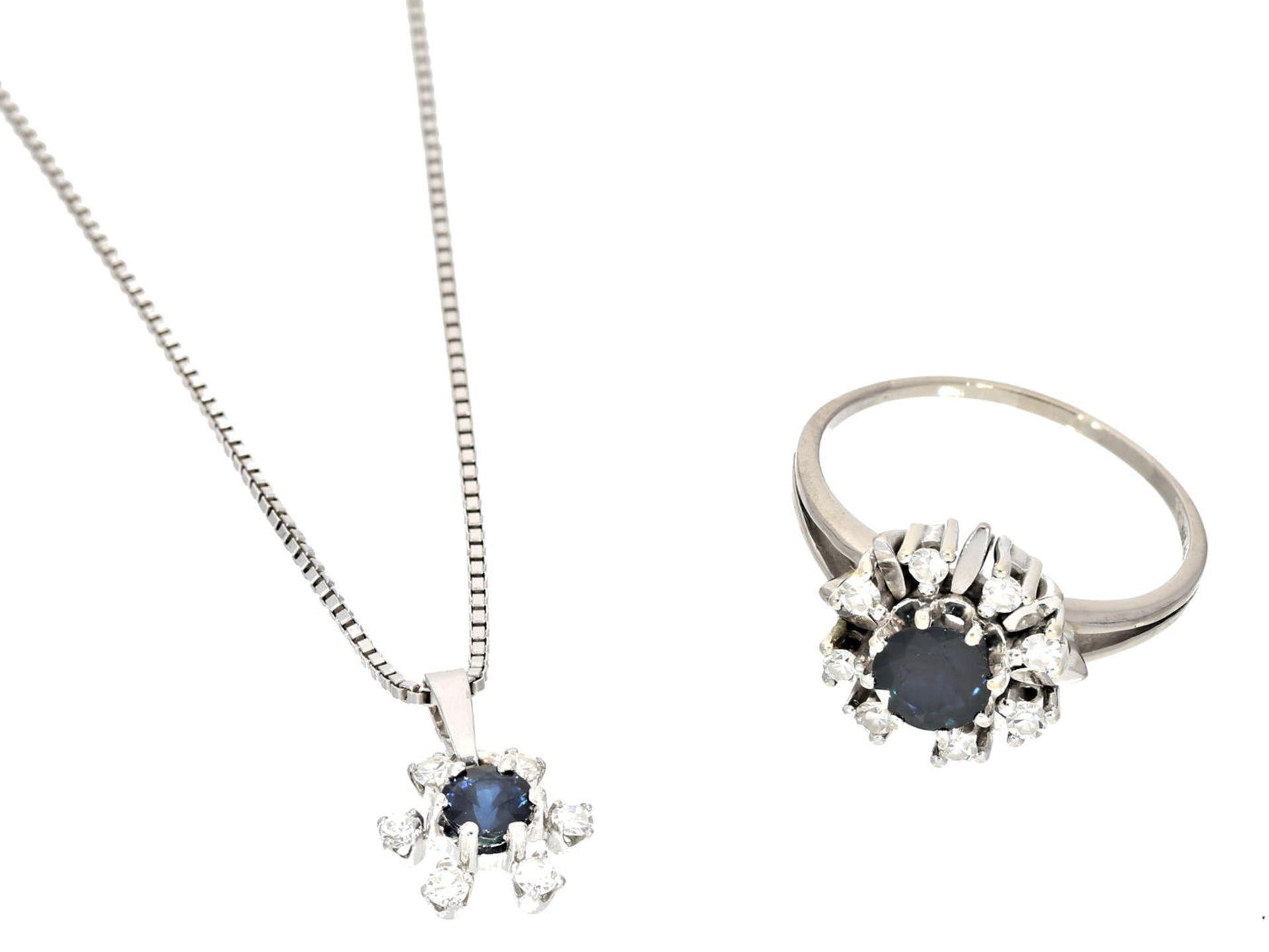 Los 6018 - Ring/Kette/Anhänger: vintageSchmuckset mit Saphiren und Diamanten 1. Ring ca. Ø19mm, RG60, ca. 5,6g,