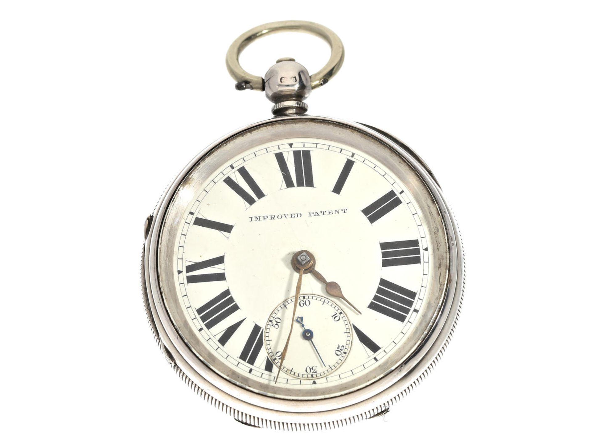 """Los 6060 - Taschenuhr: schwere englische Taschenuhr """"Improved Patent"""", Hallmarks 1895 Ca. Ø55mm, ca. 150g,"""