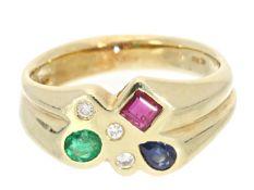 Ring: ehemals teurer Goldschmiedering mit Brillanten und hochwertigen Edelsteinen Ca. Ø18mm, RG56,