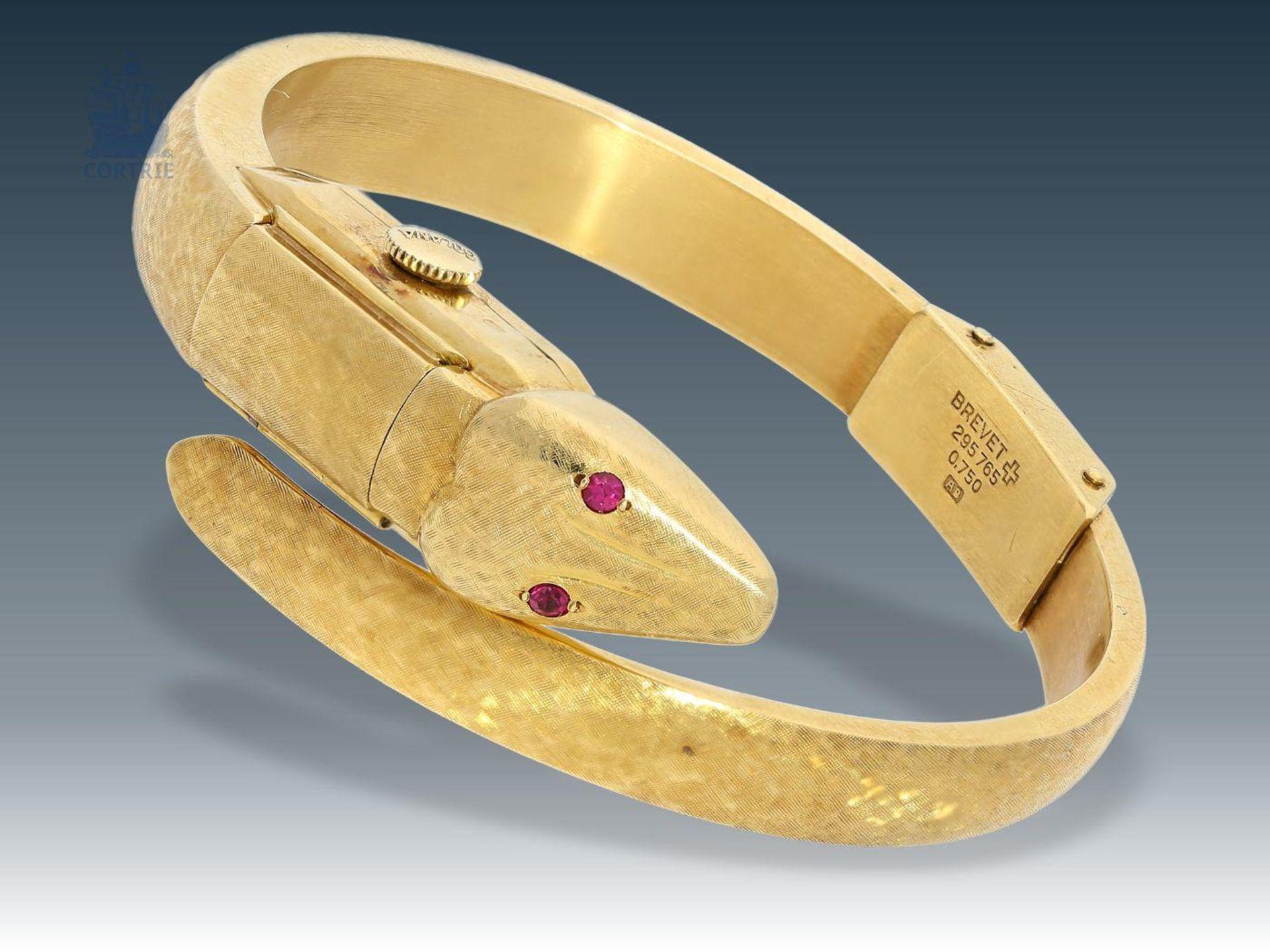 """Los 6003 - Armbanduhr: vintage Spangenuhr der Marke """"Golana"""" in 18K Gold, gearbeitet als Schlange, ca. 50er"""