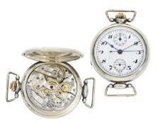 Armbanduhr: sehr seltener, ganz früher, großer Kronendrücker-Chronograph mit Register, signiert