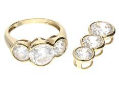 Ring/Anhänger: 14K Schmuckset mit farblosen Steinen 1. Ring ca. Ø17mm, RG53, ca. 4,5g, 14K Gold.