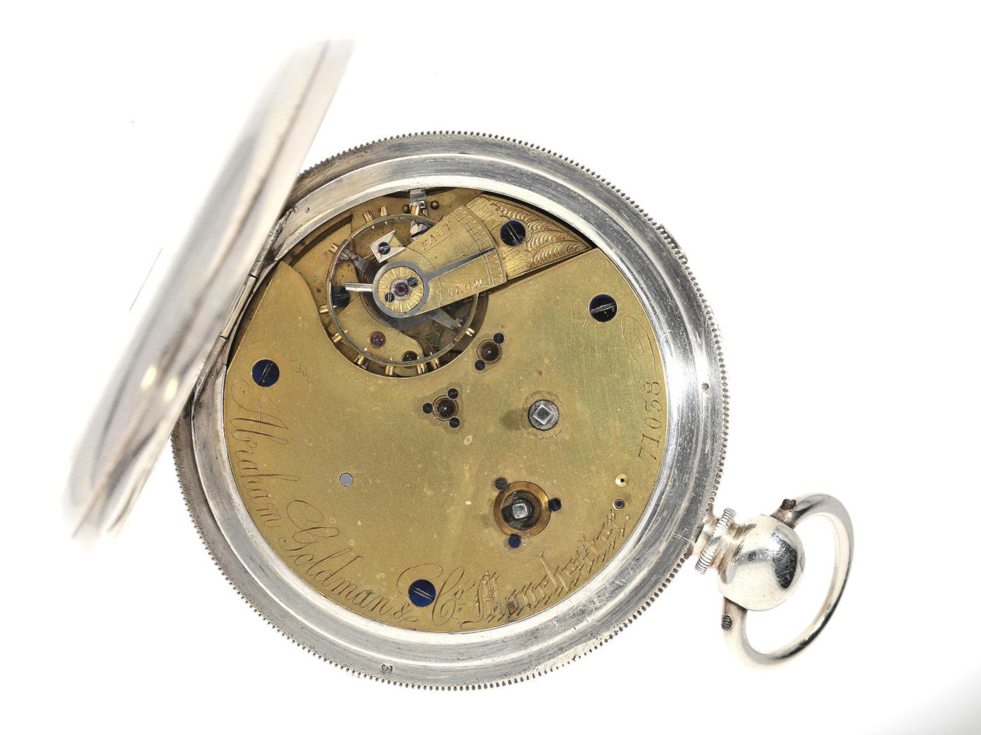 Taschenuhr: englische Beobachtungsuhr außergewöhnlicher Größe und Qualität, Abraham Goldman - Bild 2 aus 3