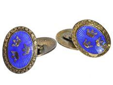 Manschettenknöpfe: dekorative Manschettenknöpfe im Fabergé-Stil mit Darstellung der Krone des