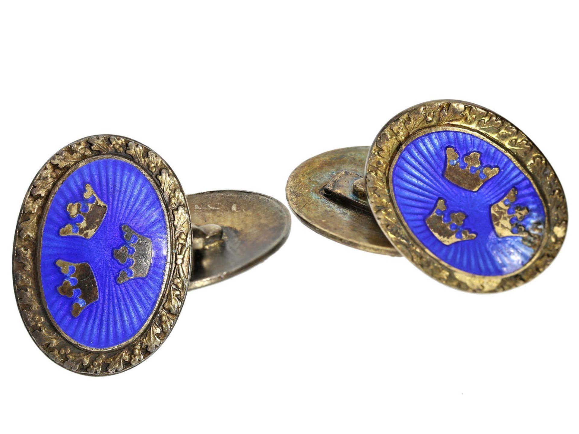Los 6041 - Manschettenknöpfe: dekorative Manschettenknöpfe im Fabergé-Stil mit Darstellung der Krone des