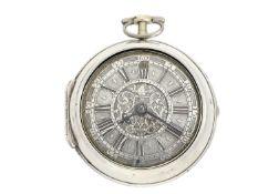 Taschenuhr: frühe Doppelgehäuse-Spindeluhr mit Datum, Peter Gobert London, um 1720 Ca. Ø54mm, ca.