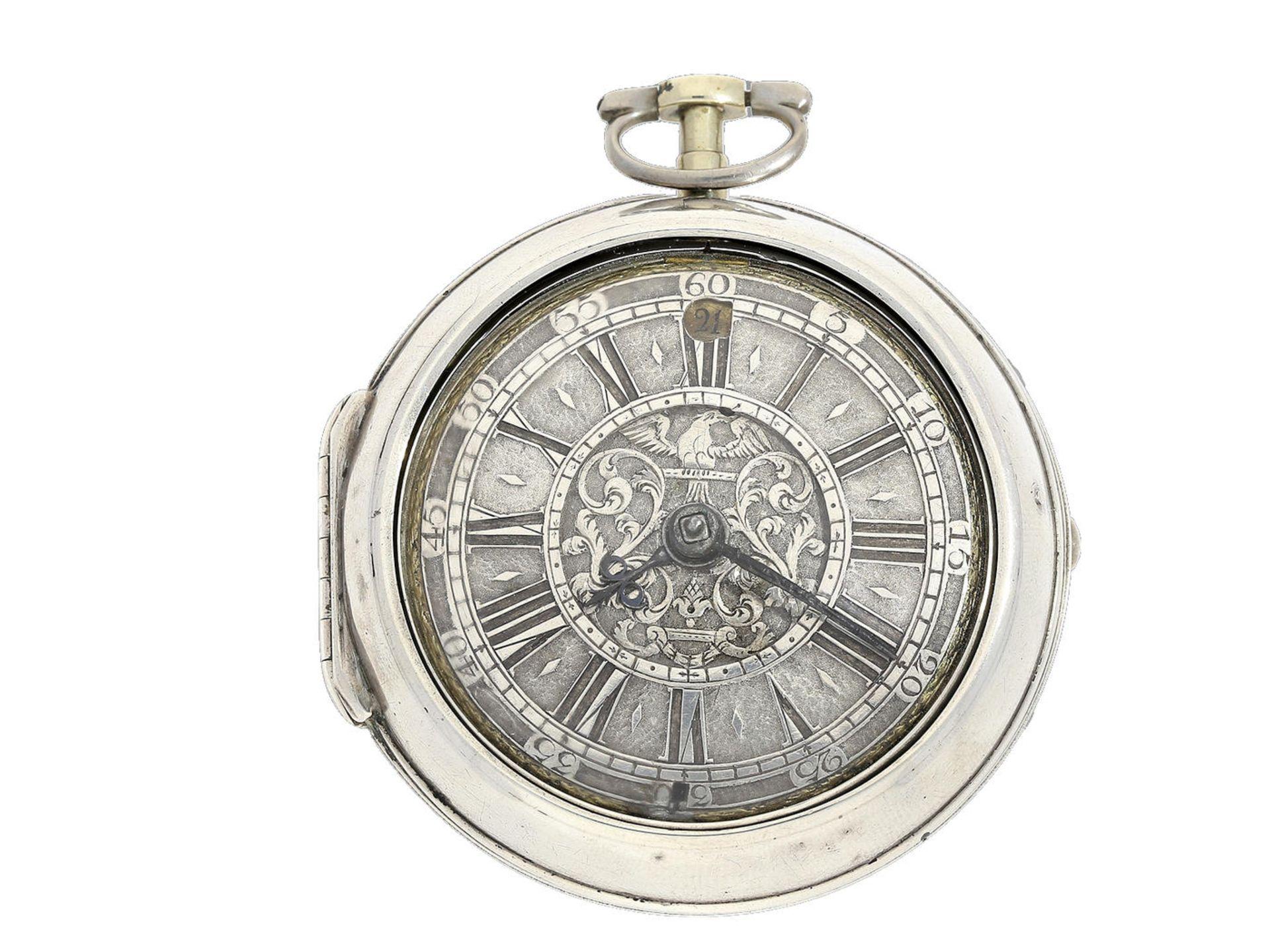 Los 6040 - Taschenuhr: frühe Doppelgehäuse-Spindeluhr mit Datum, Peter Gobert London, um 1720 Ca. Ø54mm, ca.
