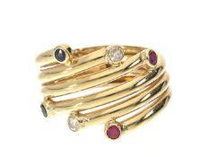 Ring: vintage Farbstein-Ring, 18K Gold Ca. Ø17mm, RG54, ca. 3,2g, 18K Gold, diverse Farbsteine,