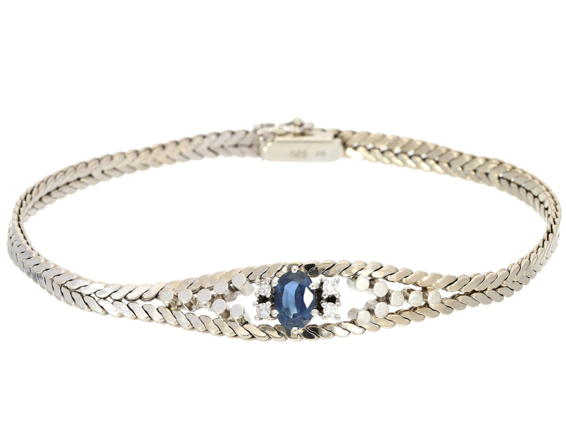 Los 6021 - Armband: sehr schönes vintage Saphir/Diamantarmband, Handarbeit um 1960 Ca. 19cm lang, ca. 16g,