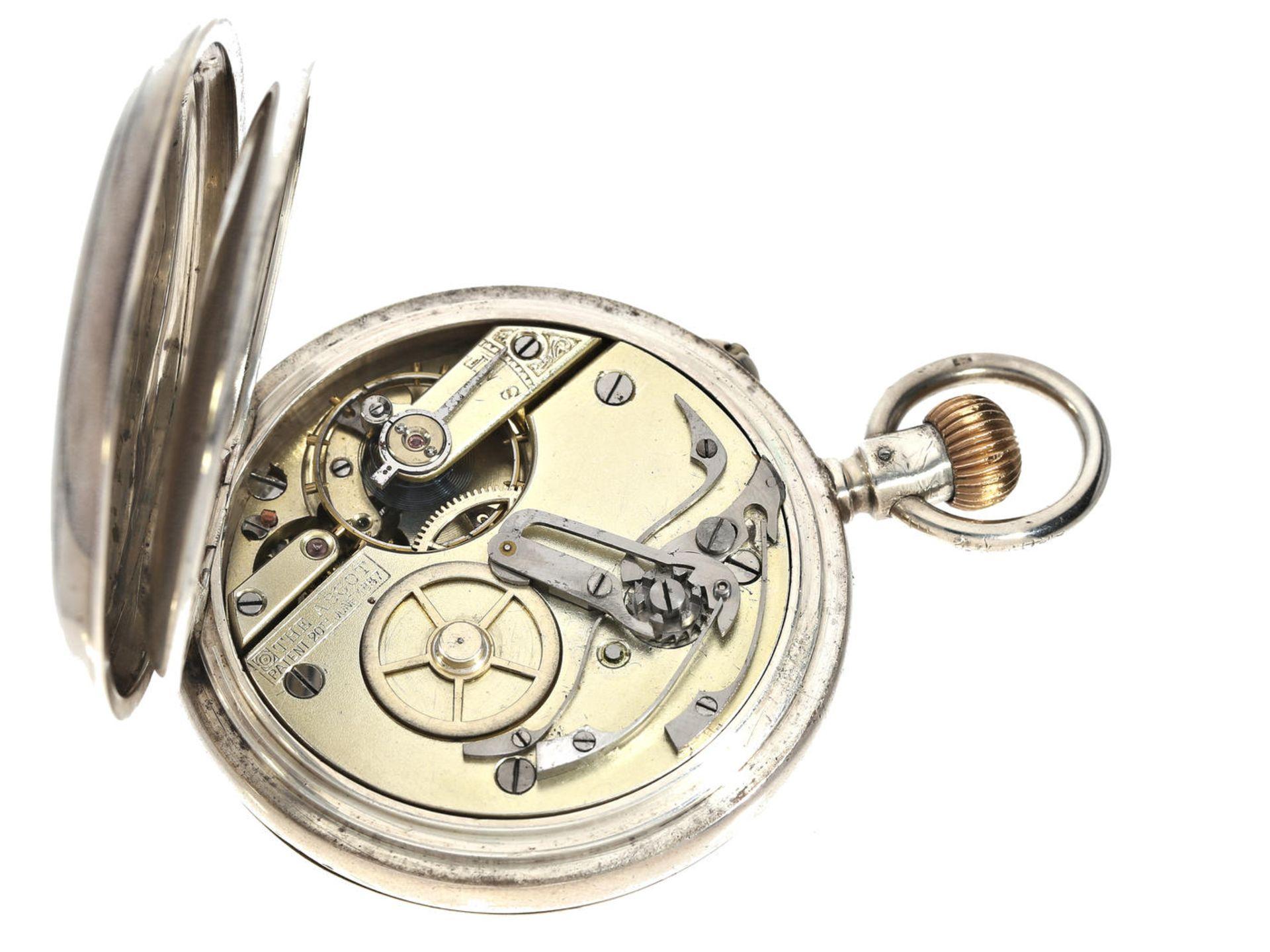 Taschenuhr: Schweizer Kronendrücker-Chronograph, gefertigt für den englischen Markt, Silber, ca.1912 - Bild 2 aus 3