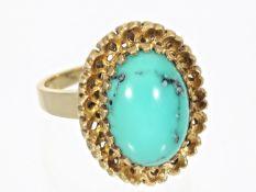 Ring: massiver vintage Goldschmiedering mit Türkis, Handarbeit um 1960 Ca. Ø16,5mm, RG52, ca. 6,