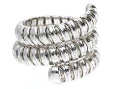 Ring: ausgefallener Designer-Schlangenring aus 18K Weißgold Ca. Ø17,5mm, RG55, ca. 9g, 18K Weißgold,