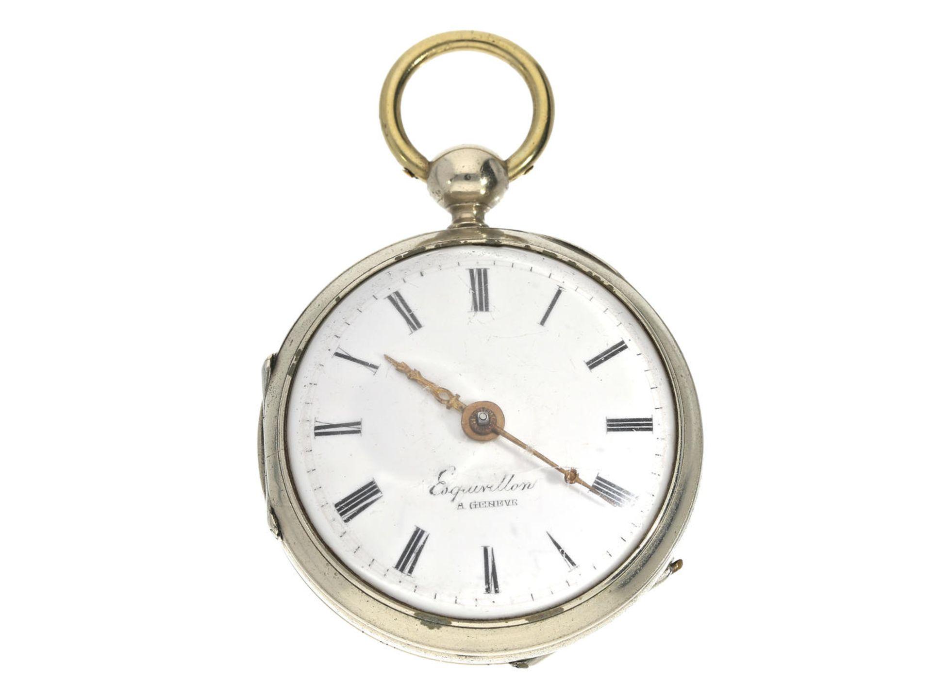 Taschenuhr: Spindeluhr, um 1800, signiert Esquivillon Geneve Ca. Ø47mm, ca. 89g, Nickelgehäuse,