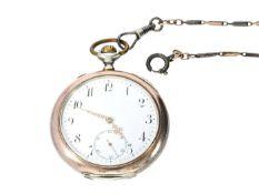 Taschenuhr: feine Herrentaschenuhr von IWC Schaffhausen mit attraktiver Uhrenkette, ca. 1910 Ca.