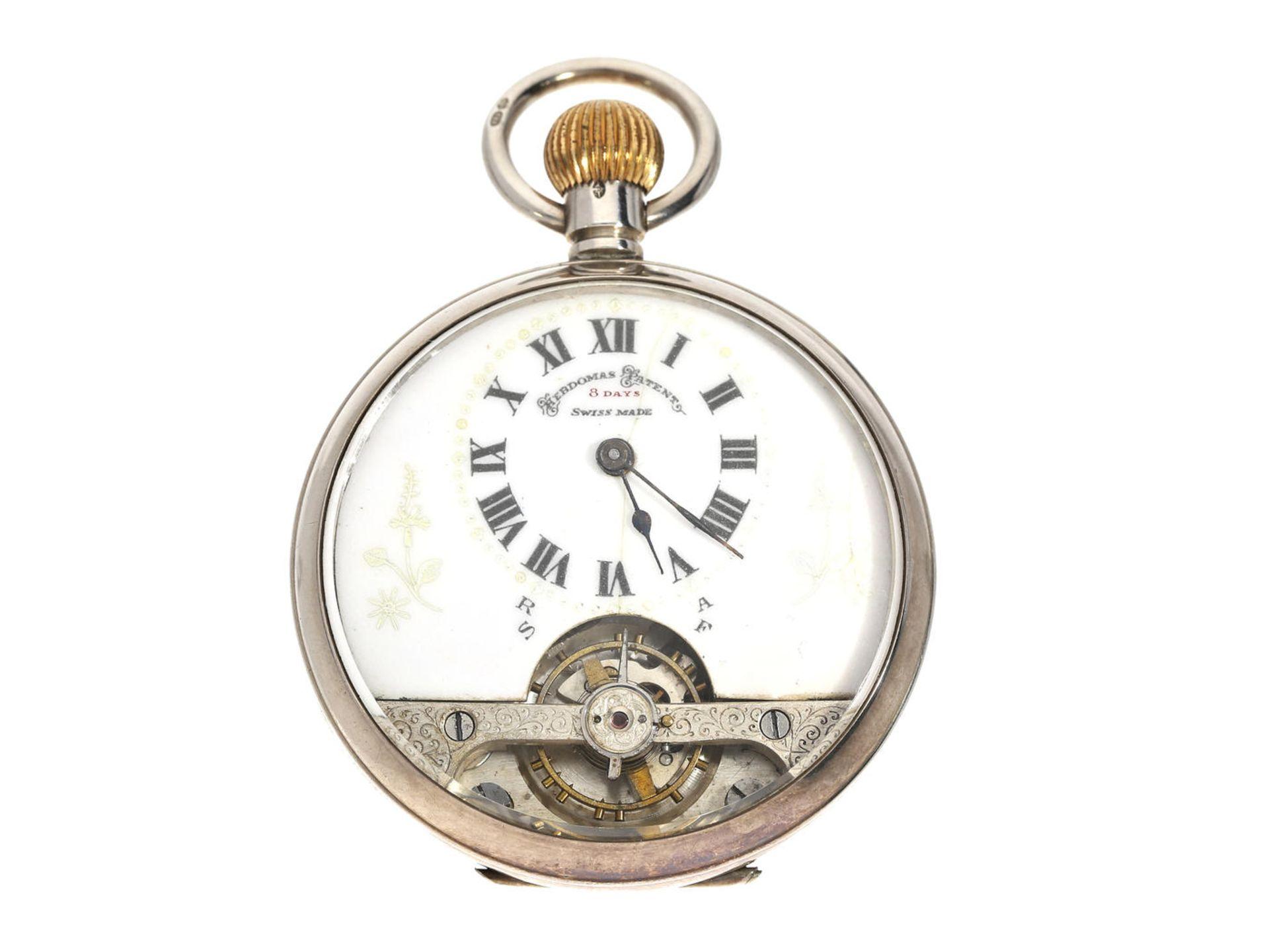 Taschenuhr: Hebdomas 8-Tage-Taschenuhr, um 1920 Ca. Ø48mm, ca. 84g, guillochiertes Silbergehäuse,