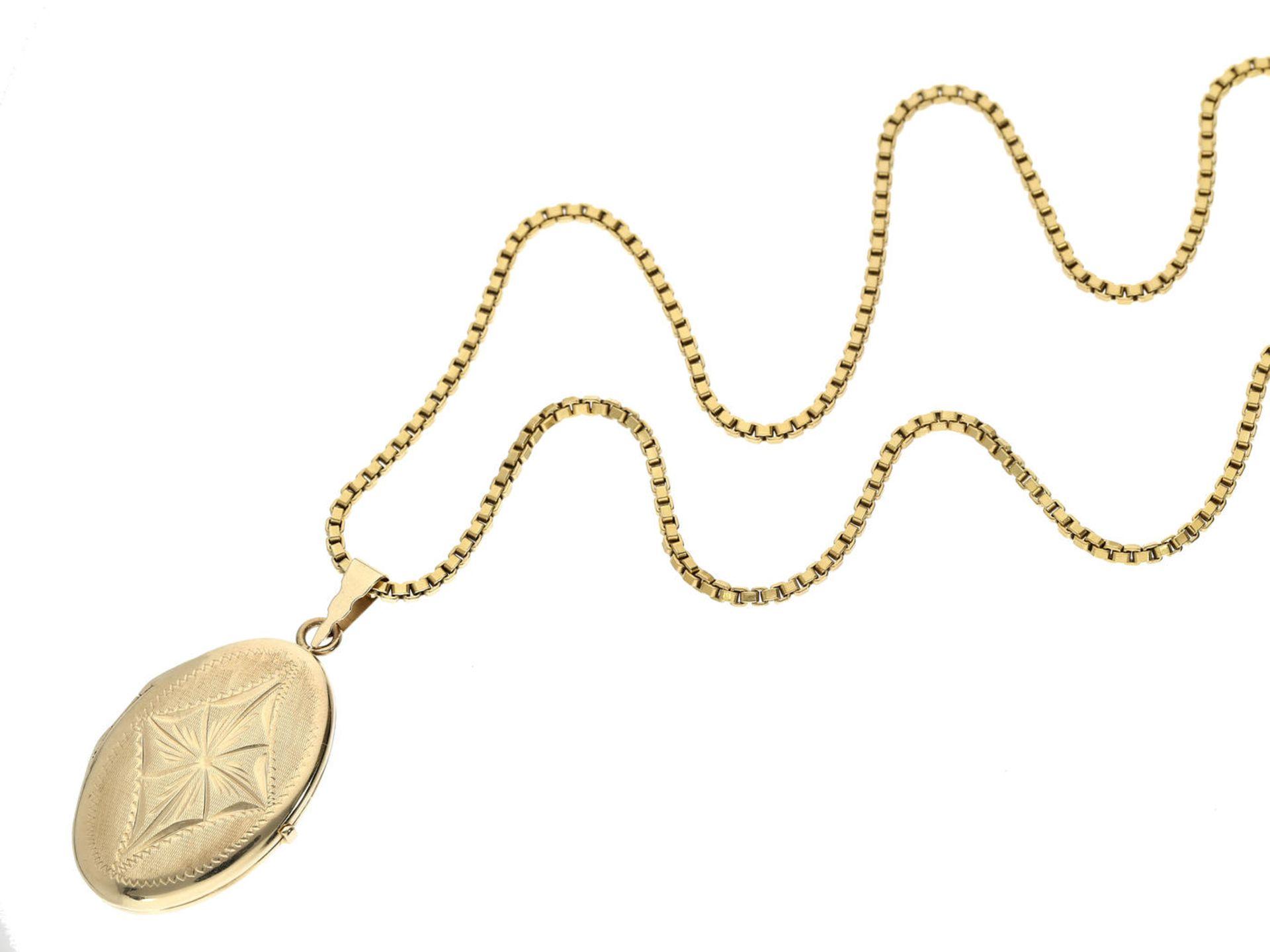 Kette/Anhänger: vintage Medaillon an langer Halskette, 14K Gold Kette ca. 60cm lang, Anhänger ca.
