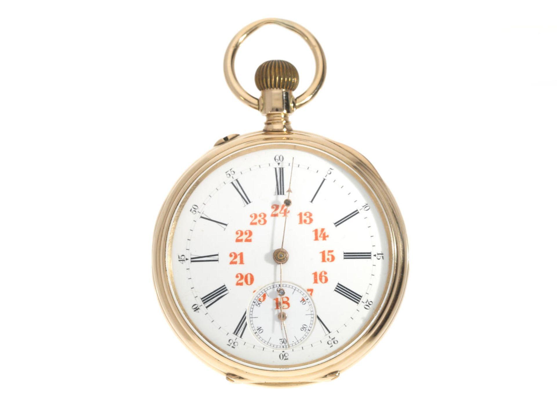 Taschenuhr: feine goldene Taschenuhr, Ankerchronometer, Vve. Henri Monney Biel, Schweiz um 1890