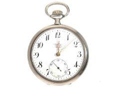 Taschenuhr: silberne Herrentaschenuhr der Marke Doxa, ca. 1915 Ca. Ø51mm, ca. 77g, guillochiertes
