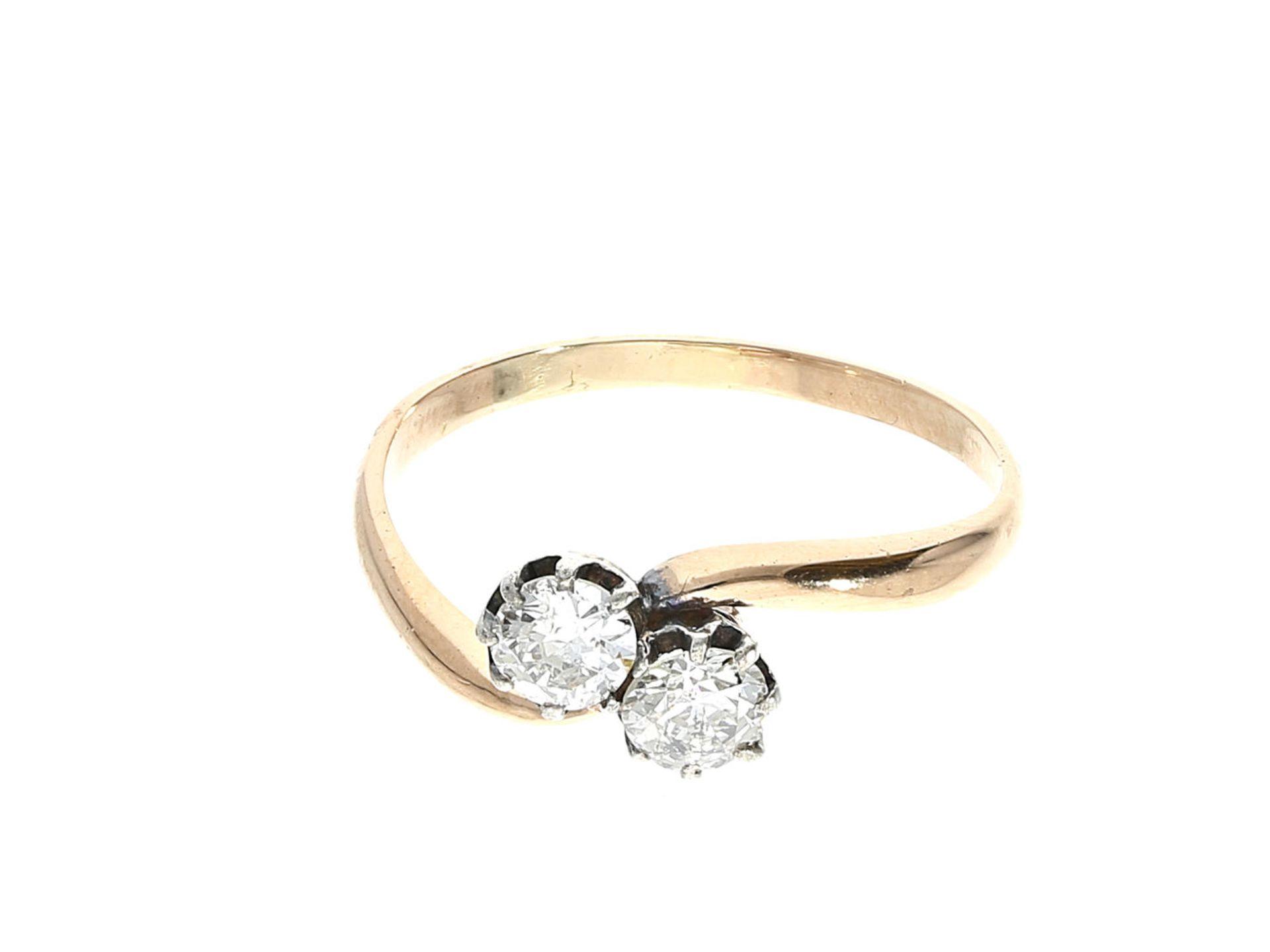 Los 6004 - Ring: sehr schöner antiker Diamantring, vermutlich um 1925, ca. 0,7ct Ca. Ø18mm, RG57, ca. 2g, 14K