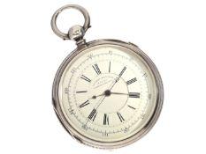 """Taschenuhr: früher englischer Chronograph mit Schlüsselaufzug und Kette/Schnecke, bez. """"Improved"""