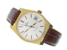 Armbanduhr: Herrenarmbanduhr von Omega, vermutlich um 1990 Ca. 35 × 36mm, Edelstahl, vergoldet,
