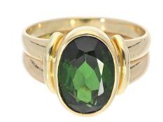 Ring: hochwertig gearbeiteter Goldschmiedering, Farbstein vermutlich Turmalin, sehr schöne