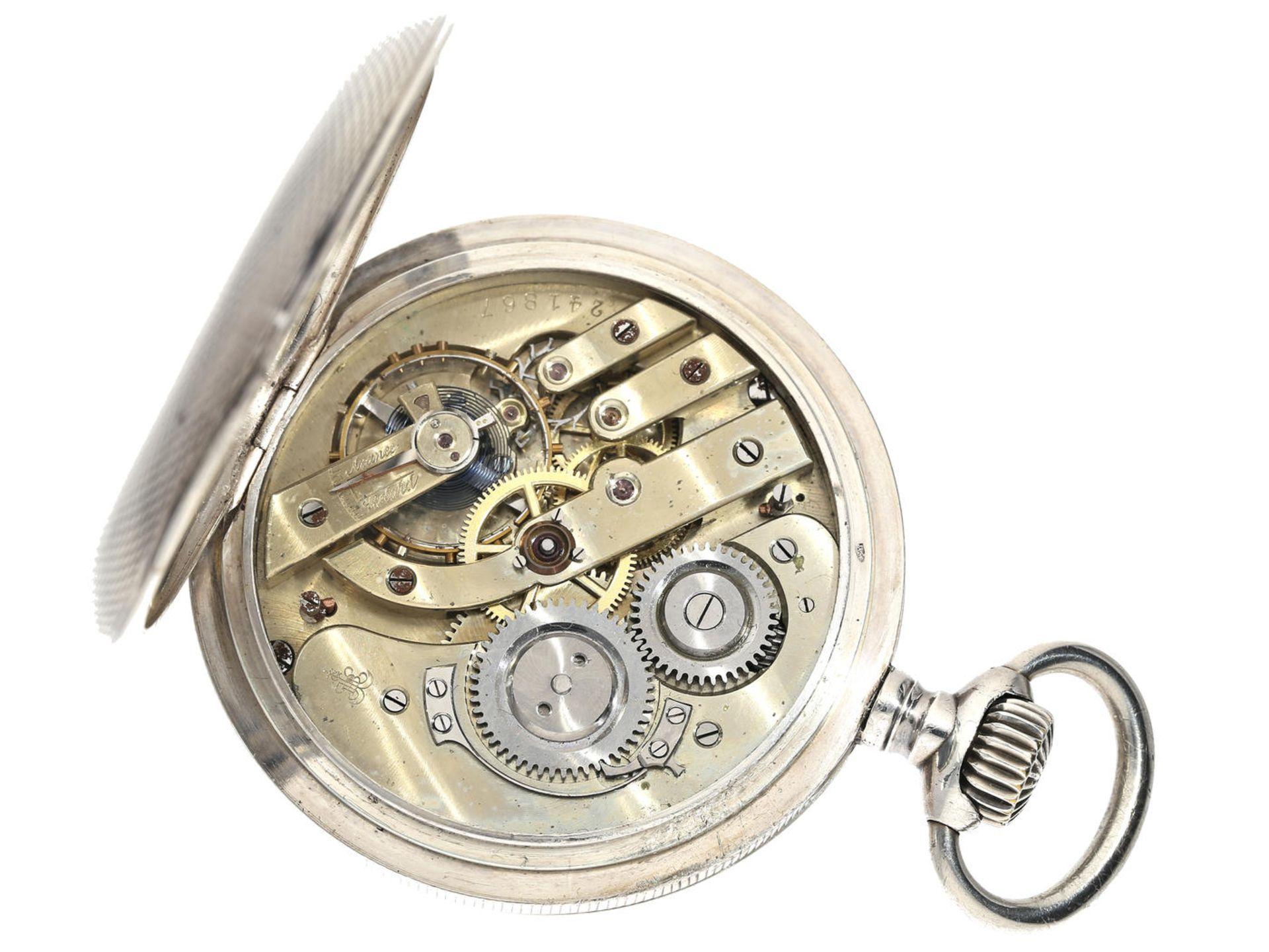 Taschenuhr: besonders große und schwere Silbersavonnette für den russischen Markt, - Bild 3 aus 3