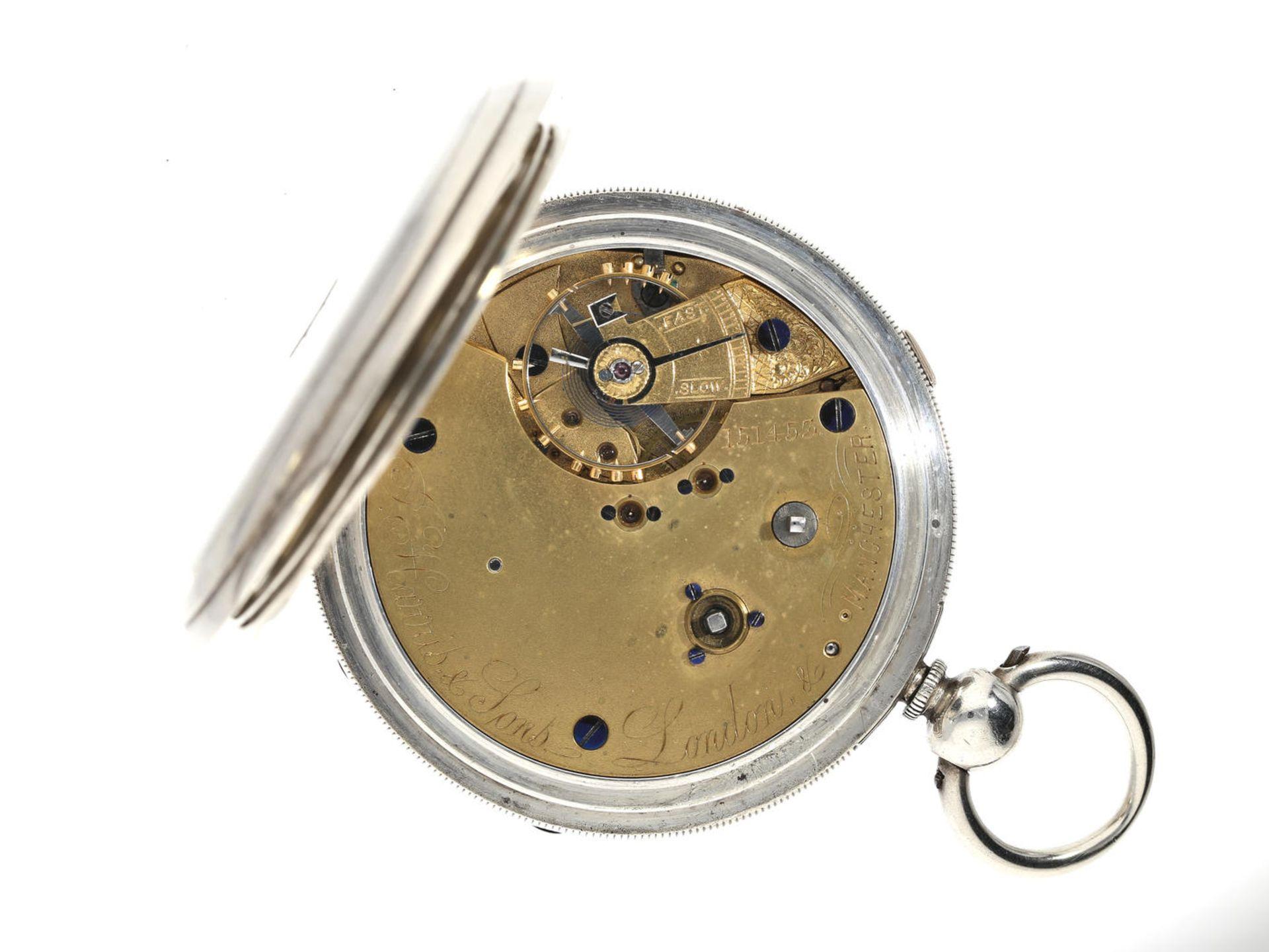Taschenuhr: extrem schwere englische Beobachtungsuhr mit anhaltbarer Zentralsekunde, - Bild 2 aus 3