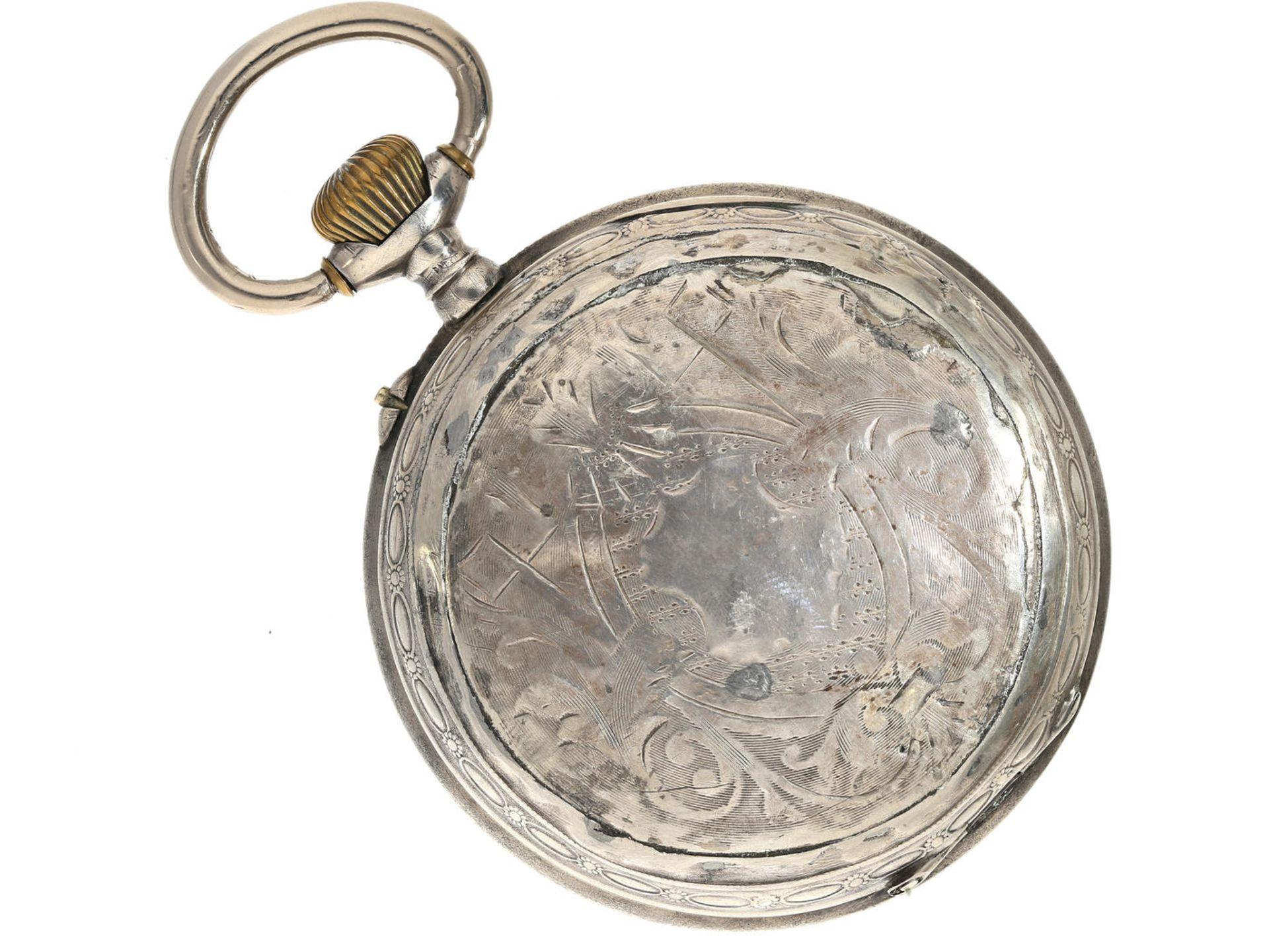 """Taschenuhr: übergroße, silberne Taschenuhr mit dekorativem Kartuschenzifferblatt, Typ """"Regulateur - Bild 5 aus 5"""