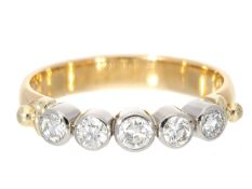 Ring: feiner Goldschmiedering mit 5 Brillanten sehr schöner Qualität, ca. 0,35ct Ca. Ø17mm, RG54,