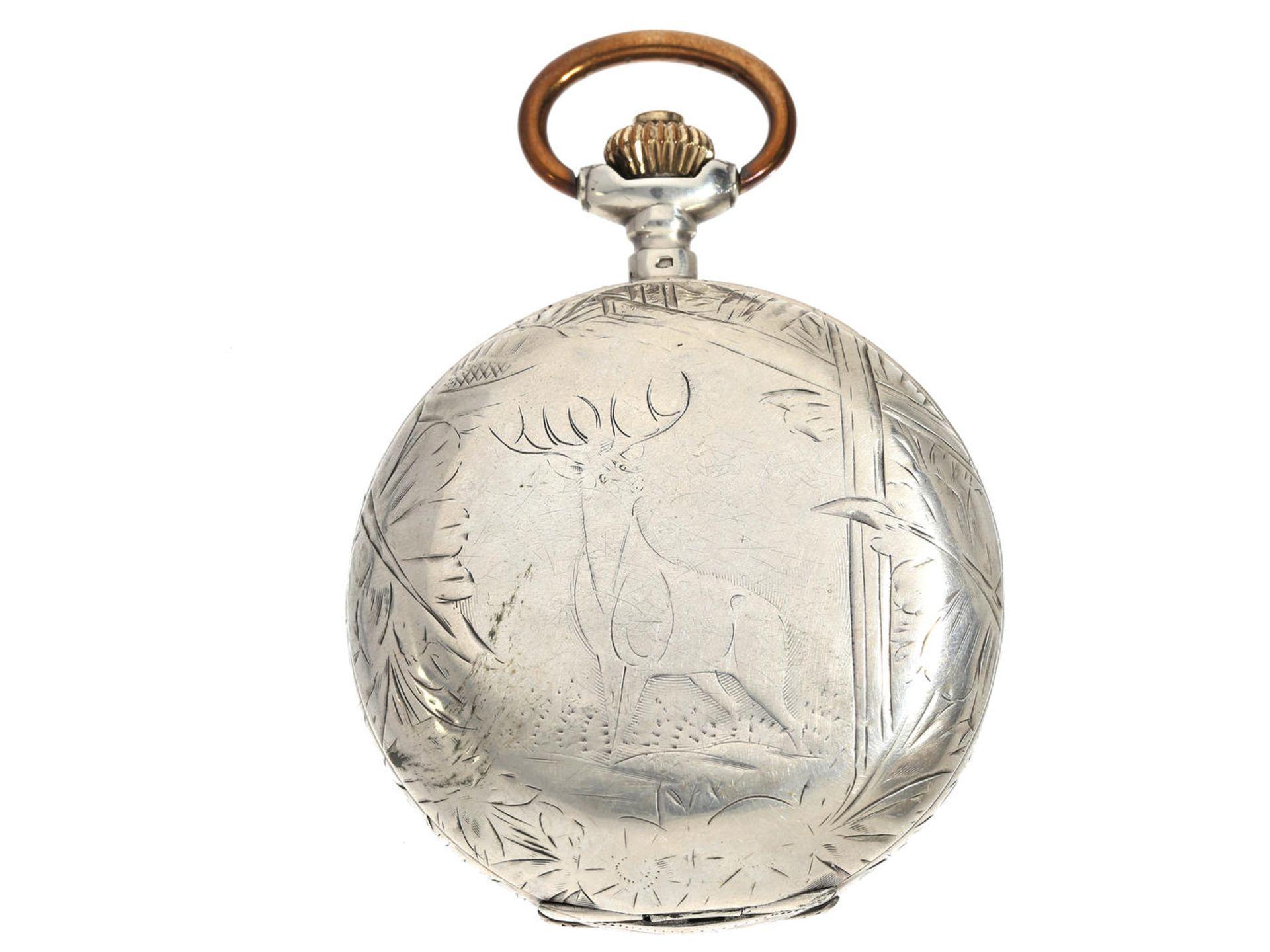 Taschenuhr: frühe Silbersavonnette mit graviertem Gehäuse und Präzisionswerk, Weber & Dubois La - Bild 3 aus 3