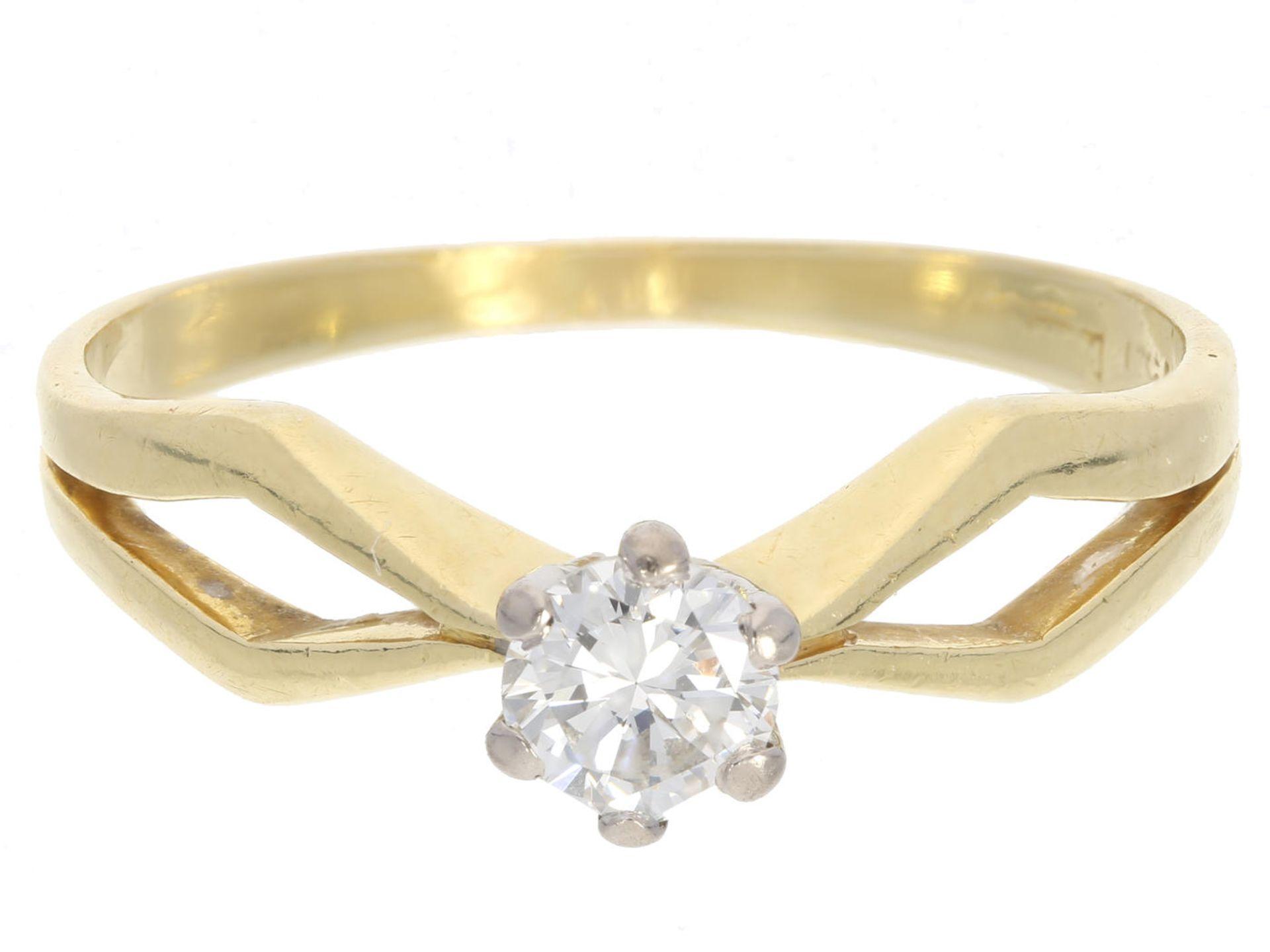 Los 6019 - Ring: vintage Brillant/Solitärring, Stein sehr guter Qualität, ca.0,35ct Ca. Ø19mm, RG59, ca. 3,