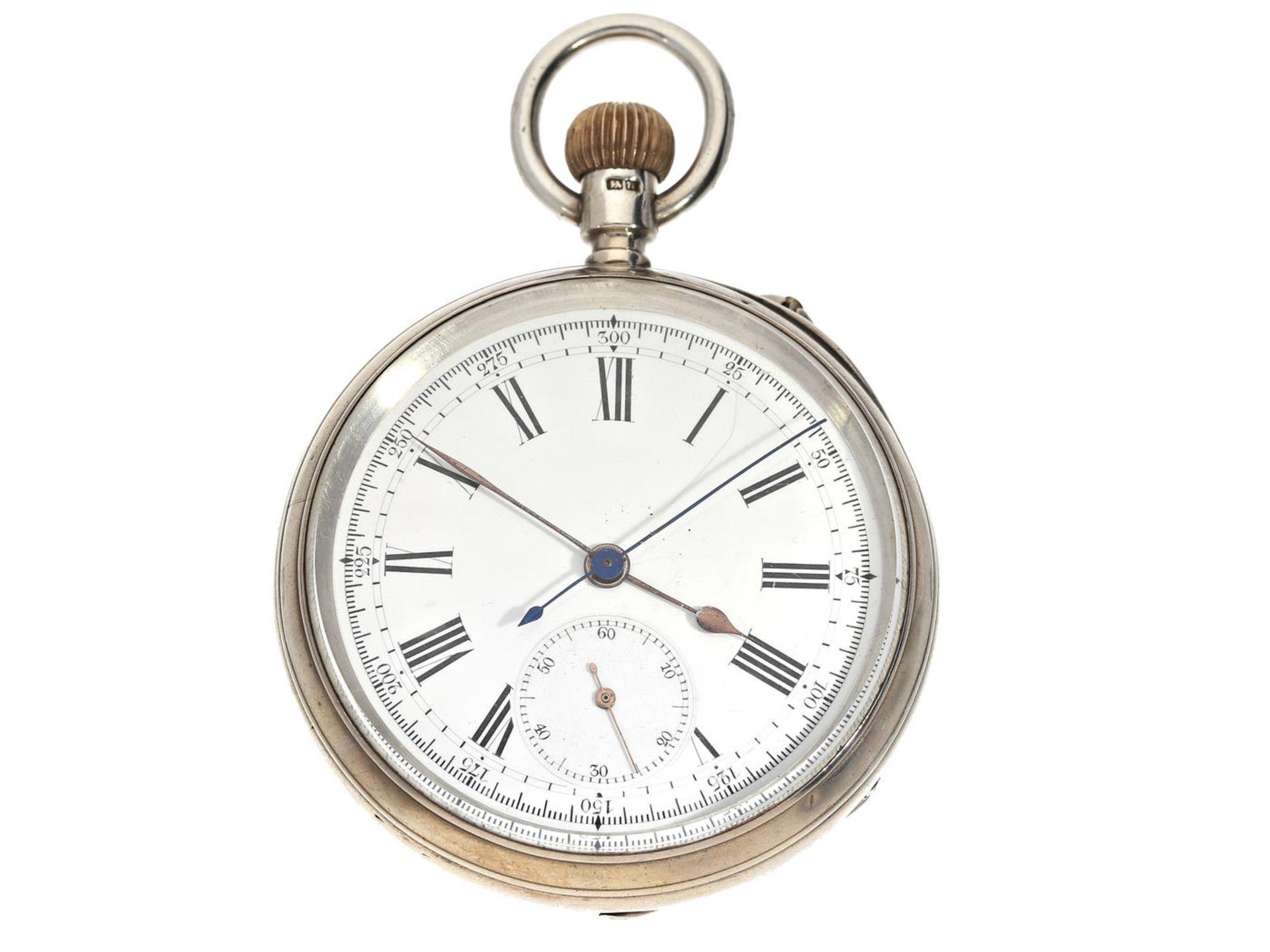 Taschenuhr: Schweizer Kronendrücker-Chronograph, gefertigt für den englischen Markt, Silber, ca.1912