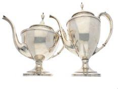 Kaffeekanne/Teekanne/Silber: hochwertiges vintage/antikes Silber-Set aus Kaffeekanne und Teekanne,