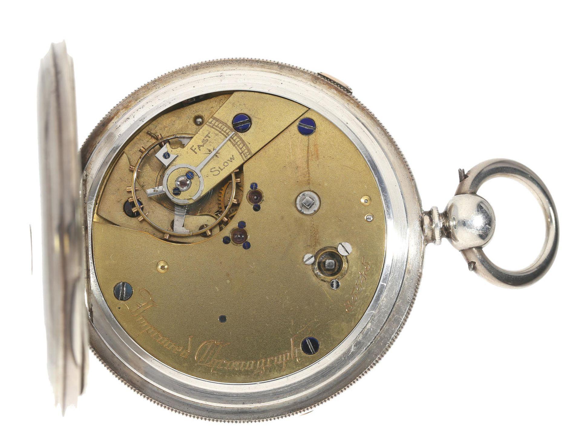 """Taschenuhr: früher englischer Chronograph mit Schlüsselaufzug und Kette/Schnecke, bez. """"Improved - Bild 2 aus 3"""