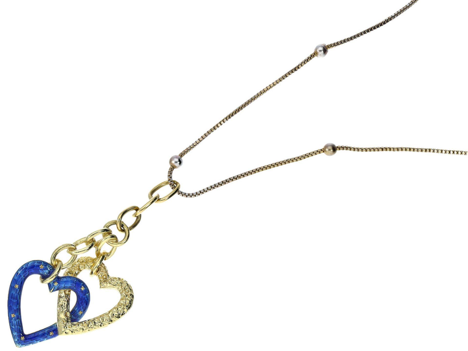 Anhänger: außergewöhnlicher und sehr schöner vintage Herzanhänger Gold/Emaille Ca. 50mm lang, ca.