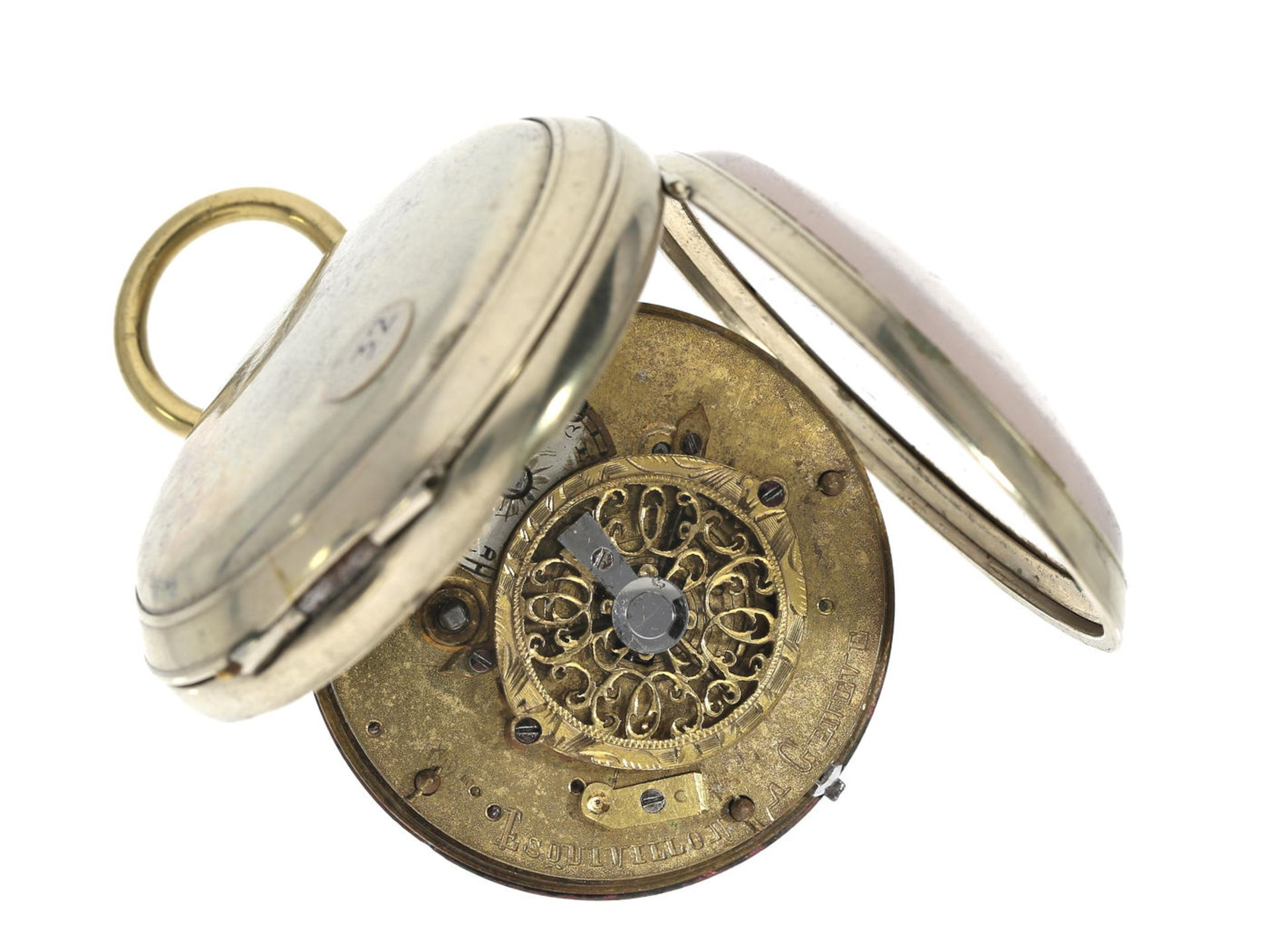 Taschenuhr: Spindeluhr, um 1800, signiert Esquivillon Geneve Ca. Ø47mm, ca. 89g, Nickelgehäuse, - Bild 2 aus 3
