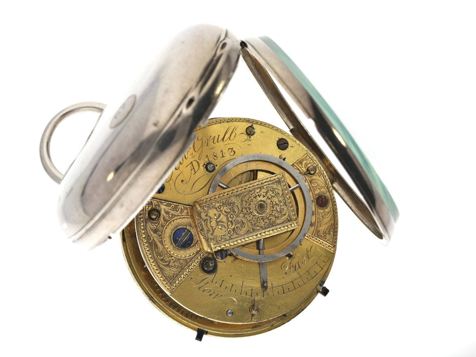 Taschenuhr: interessante Spindeluhr mit anhaltbarer Sekunde, signiert Robert Grulb AD 1813 Ca. - Bild 3 aus 3