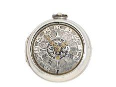 Taschenuhr: große englische Doppelgehäuse-Spindeluhr mit Datum, signiert Langin London, ca.1740
