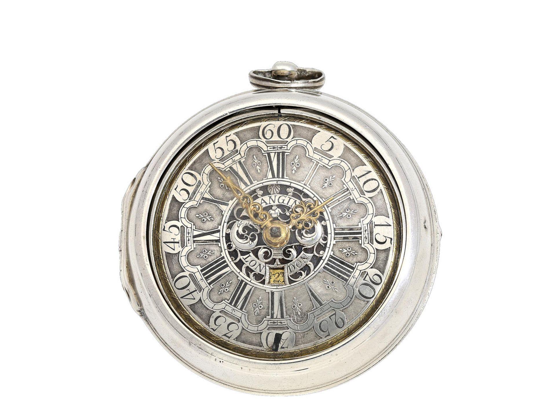Los 6039 - Taschenuhr: große englische Doppelgehäuse-Spindeluhr mit Datum, signiert Langin London, ca.1740