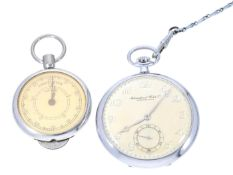 Taschenuhr: äußerst attraktive IWC Frackuhr aus Stahl mit dazugehöriger Uhrenkette und