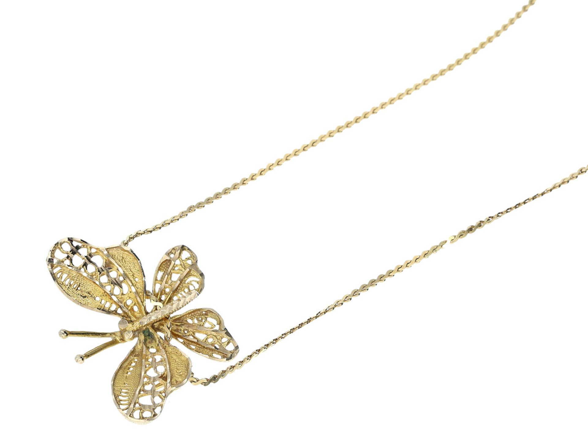 Kette/Collier: zierliche Halskette mit Schmetterlingsanhänger, 18K Gold Ca. 38cm lang, ca. 4g, 18K - Bild 3 aus 3