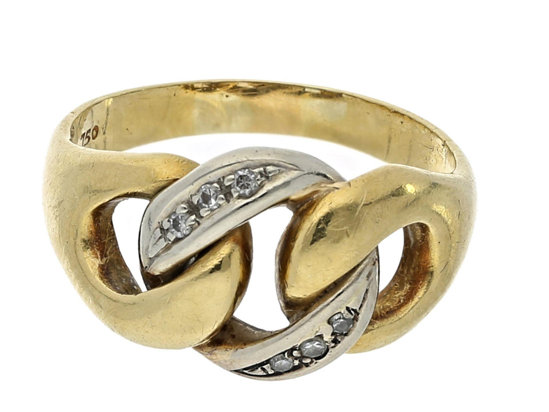 Los 6048 - Ring: vintage Diamantring, 50er Jahre Ca. Ø19,5mm, RG61, ca. 7,9g, 18K Gold, Diamantbesatz,