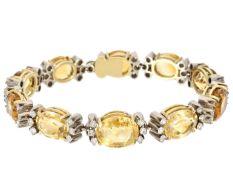 Armband: ausgefallenes vintage Goldschmiede-Armband mit wertvollem Citrin-/Diamantbesatz, ca. 1950