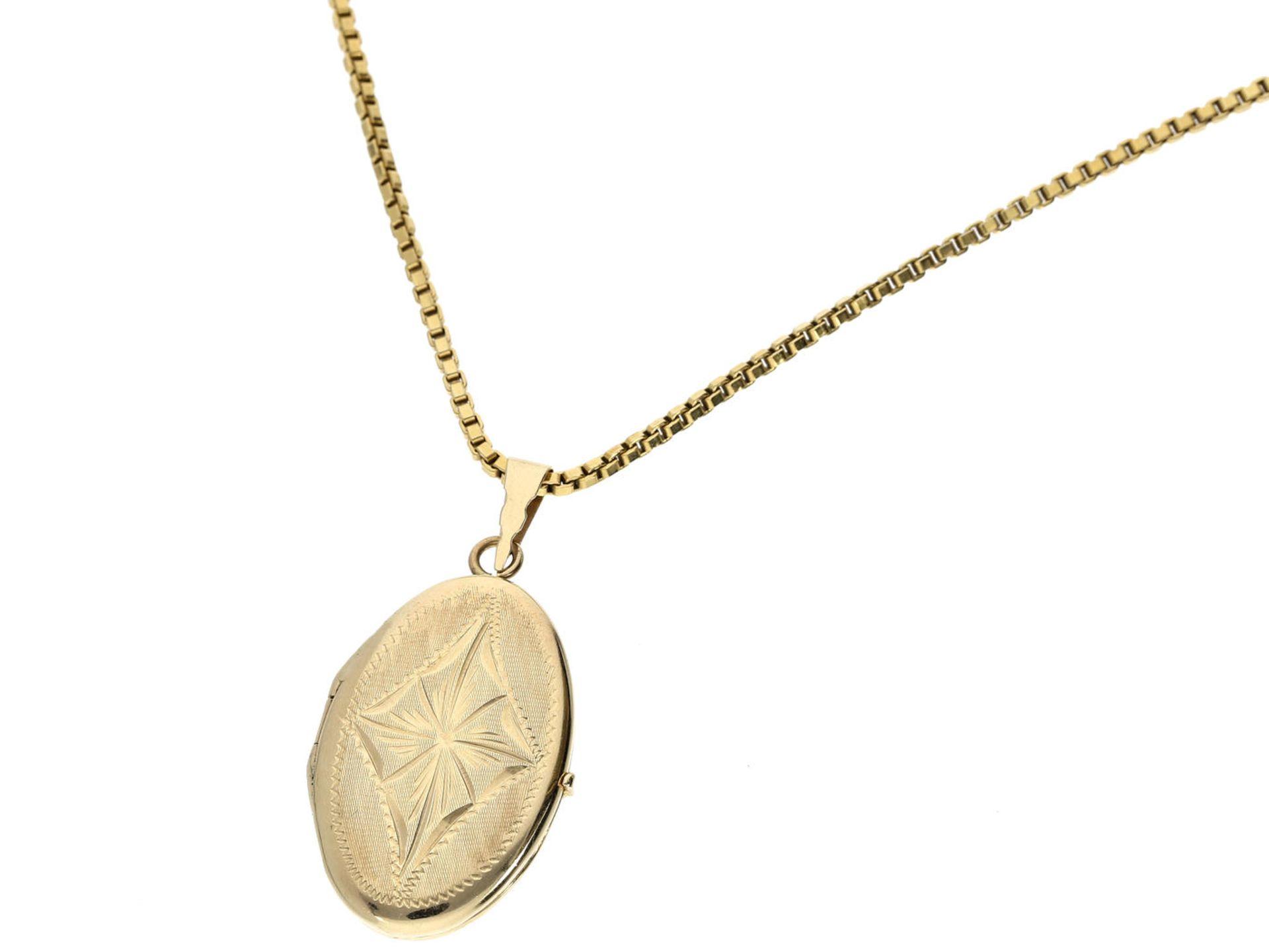 Kette/Anhänger: vintage Medaillon an langer Halskette, 14K Gold Kette ca. 60cm lang, Anhänger ca. - Bild 2 aus 3