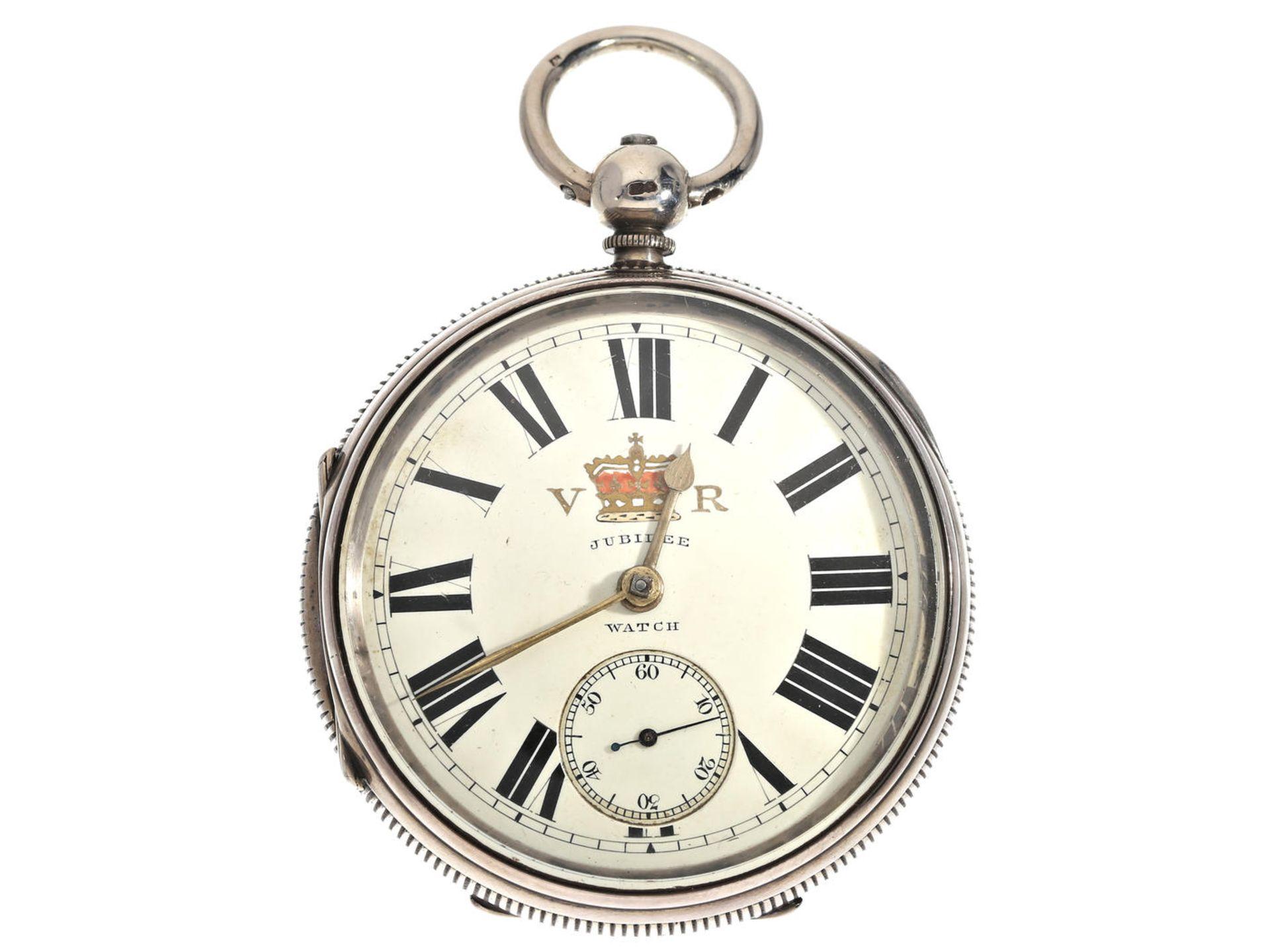 """Taschenuhr: schwere englische Taschenuhr mit Darstellung des Königswappens, bez. """"Jubilee Watch"""","""