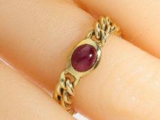 Ring: ungetragener vintage Kettenring mit Rubinbesatz Ca. Ø18mm, RG57, ca. 4,1g, 14K Gold, ca. 4mm