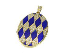 Anhänger: äußerst dekorativer Medaillon-Anhänger mit Gold-/Emaille- sowie Diamantbesatz, Viktor