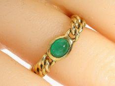 Ring: vintage Kettenring mit Smaragdbesatz Ca. Ø18mm, RG56, ca. 4,1g, 14K Gold, beweglich gearbeitet